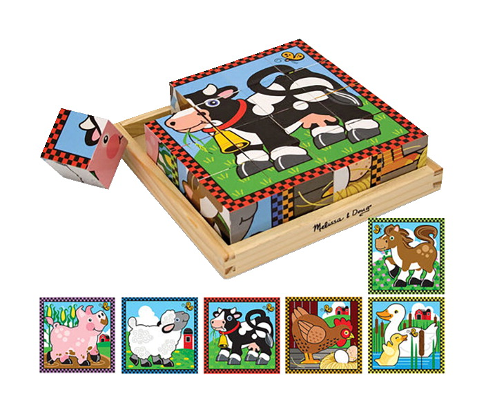 Melissa & Doug 6-in-1 Wooden Farm Cube Puzzle, 17 Pieces with Storage Tray