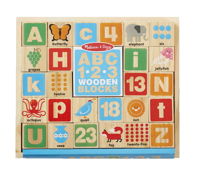 Melissa & Doug ABC and 123 Wooden Blocks, 26 Pieces
