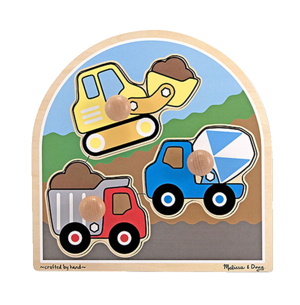 Melissa & Doug Wooden Construction Site Jumbo Knob Puzzle, 3 Pieces with Board