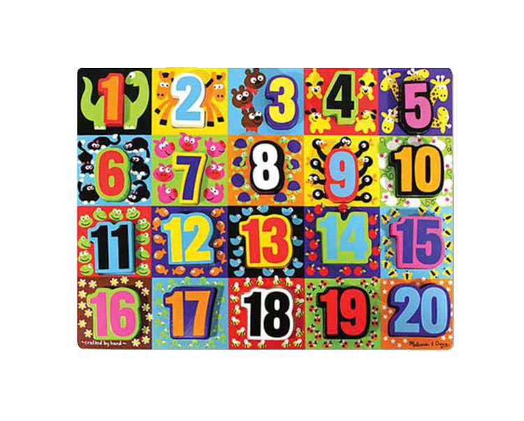 Melissa & Doug Jumbo Numbers Chunky Puzzle, 20 Pieces with Board