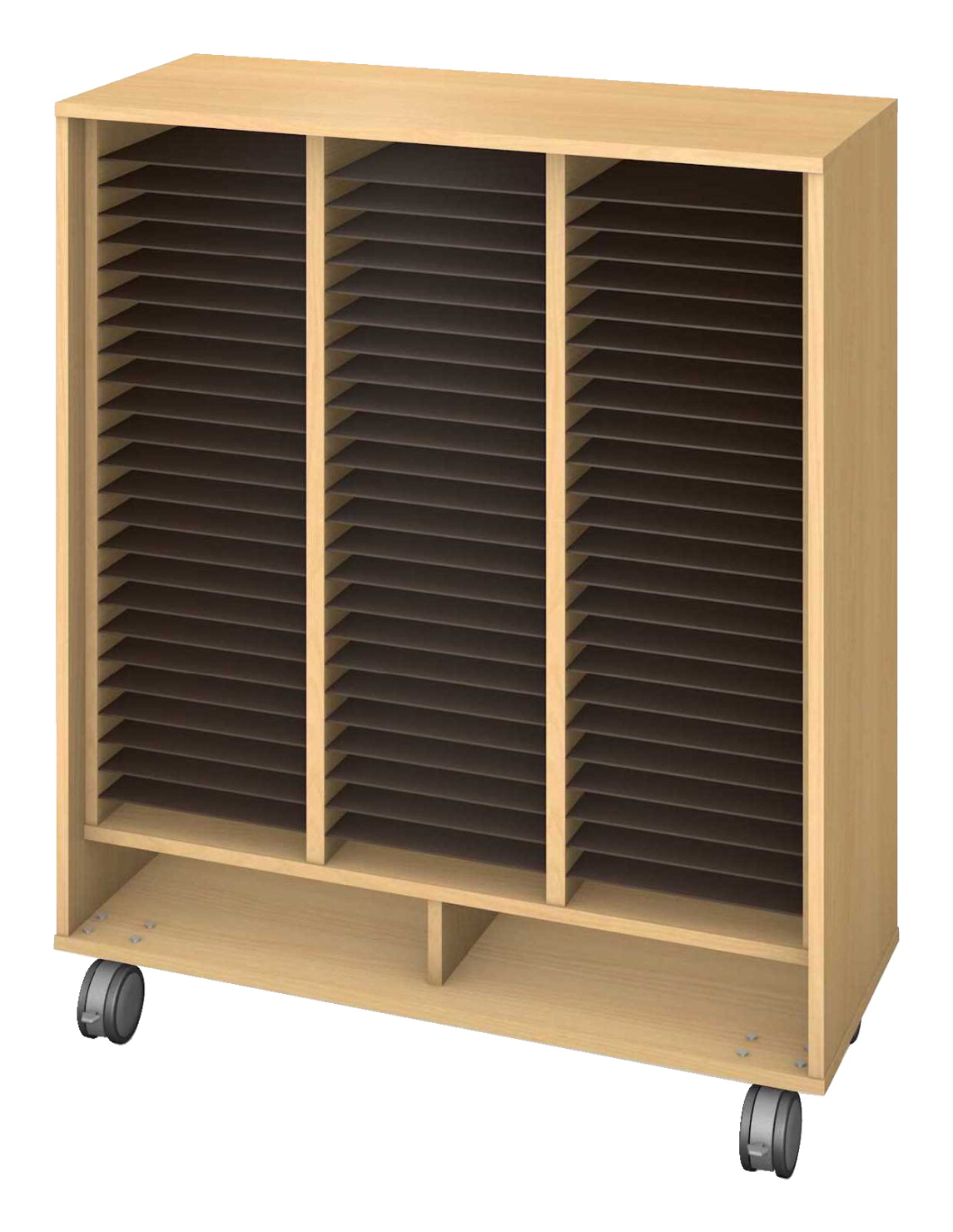 Fleetwood Harmony Mobile Folio Storage, 75 Openings, 42 x 18 x 50 Inches, Fusion Maple