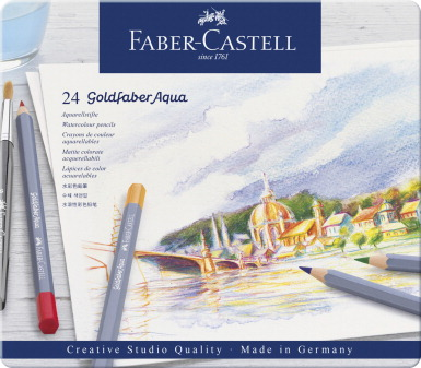 Faber-Castell Goldfaber Aqua Watercolor Pencils in Tin, Set of 24