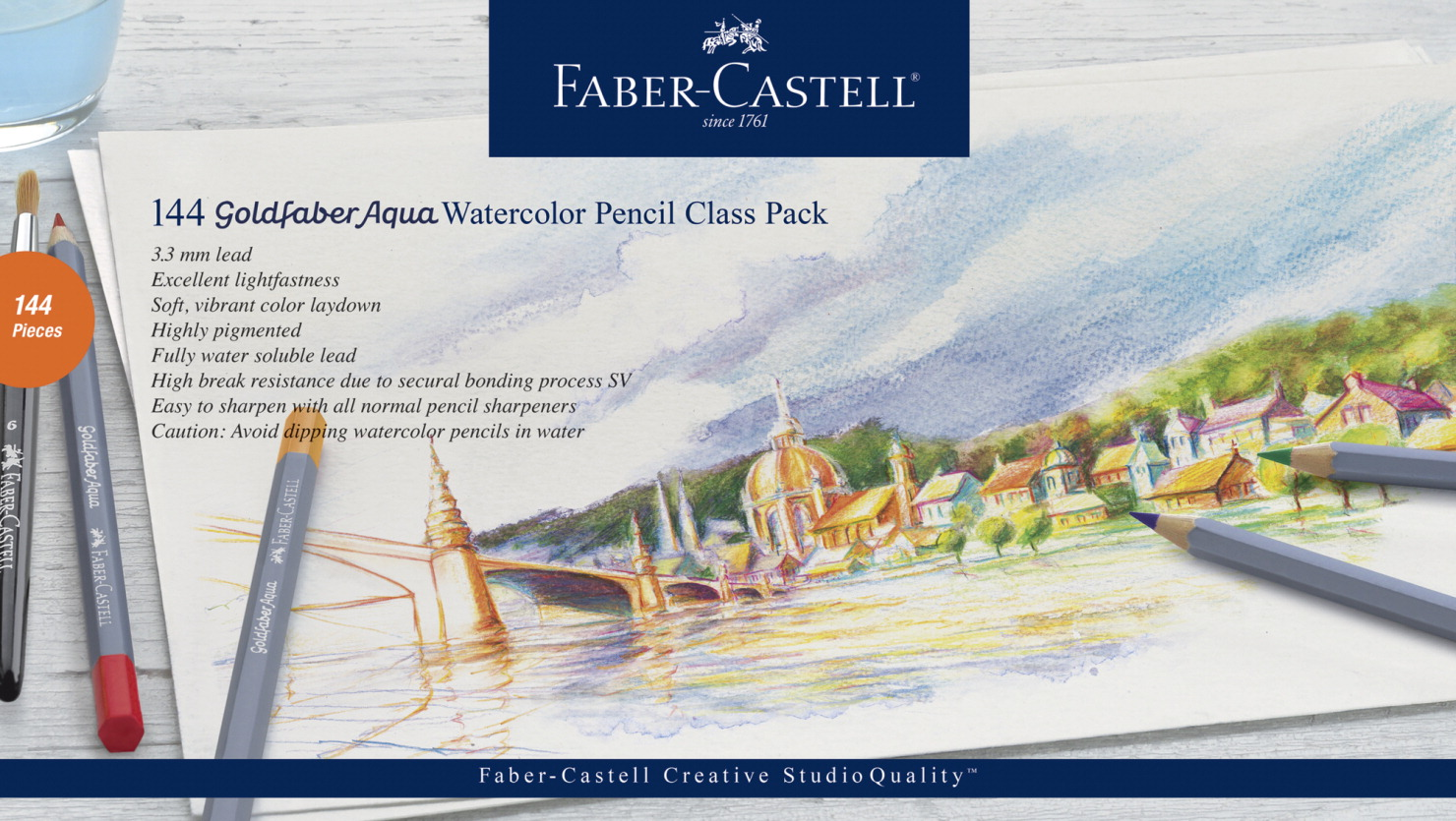 Faber-Castell Goldfaber Aqua Watercolor Pencil Class Pack, Set of 144
