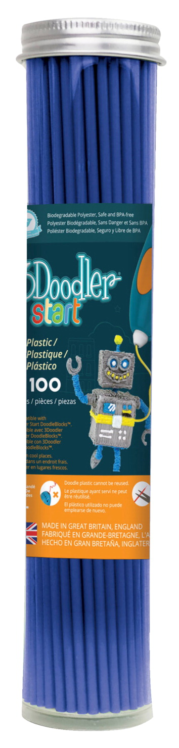 3Doodler Start Single Color Plastic Pack, Ocean Blue, 100 Strands