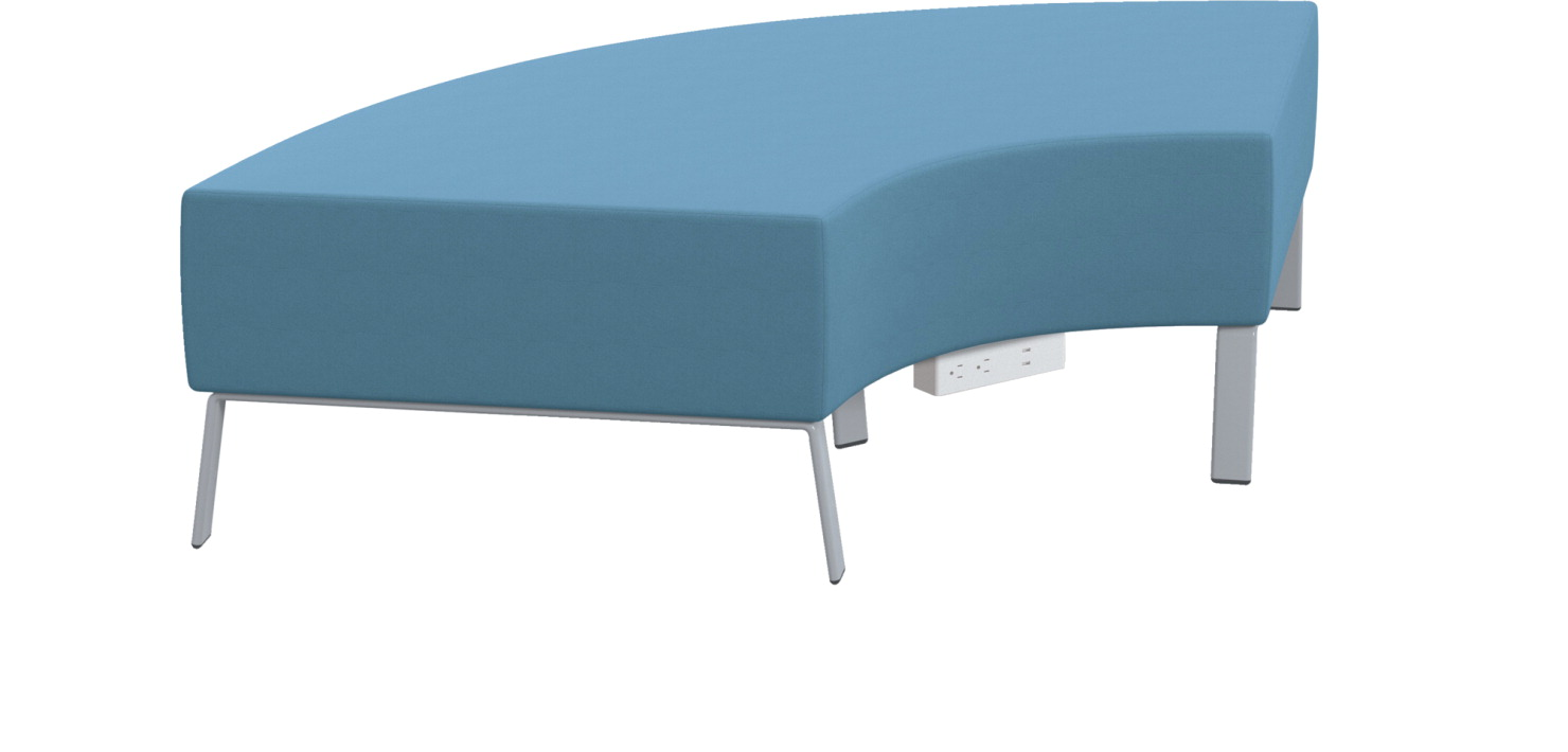 Classroom Select Soft Seating NeoLink 90 Degree Bench, Power Under Front, 71 x 32 x 18 Inches, Various Options