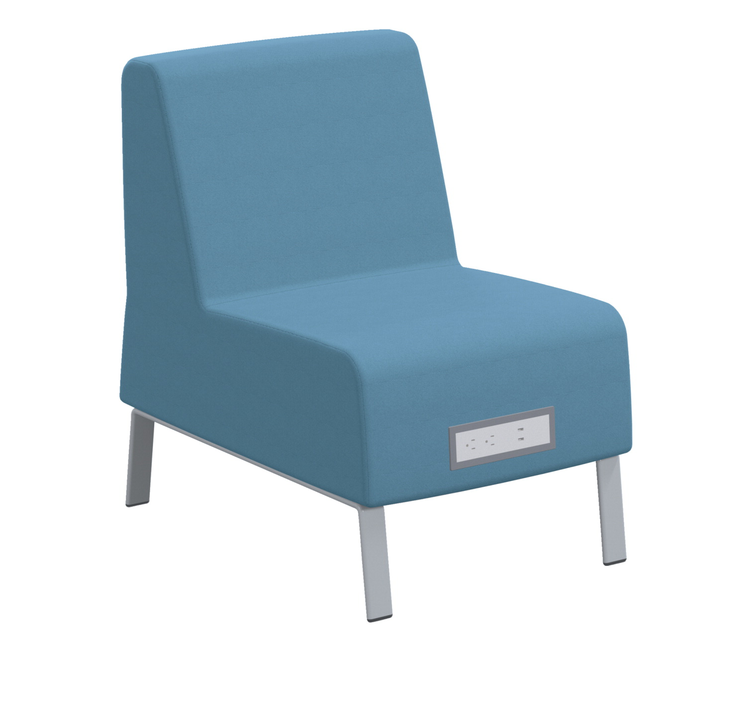 Classroom Select Soft Seating Armless Chair, Power Flat in Front, 23 x 32 x 34 Inches, Various Options