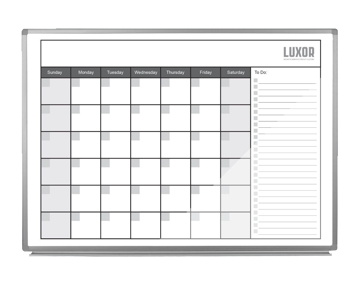 Luxor Magnetic Dry-Erase Monthly Calendar Board, Magnetic, 48 x 36 Inches