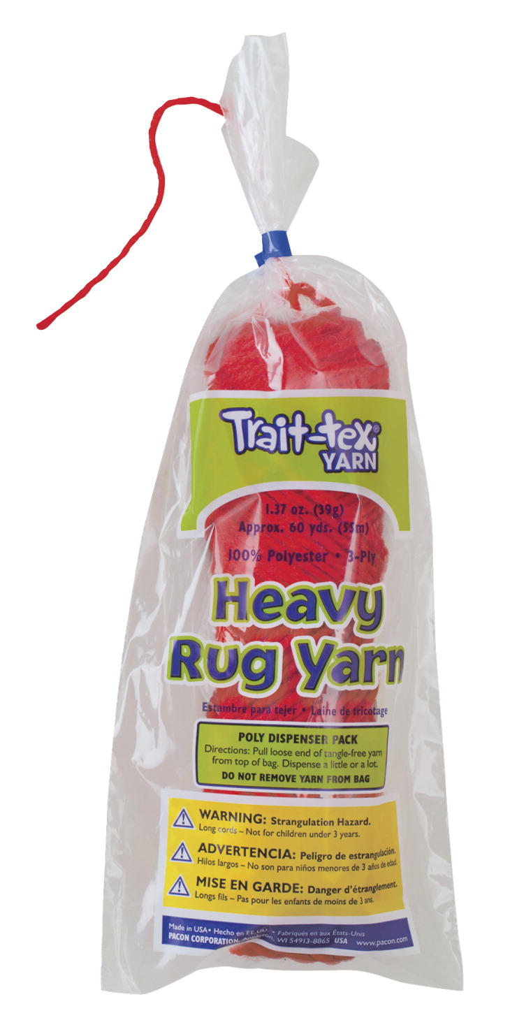 Trait-Tex Heavy Rug Yarn, 60 Yards, Red, 1 Skein