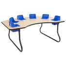 ECR4KIDS Interactive Table with 6 Seats, 72 x 48 x 27 Inches