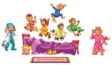 Little Folk Visuals Five Monkeys Jumping on the Bed Flannel Set