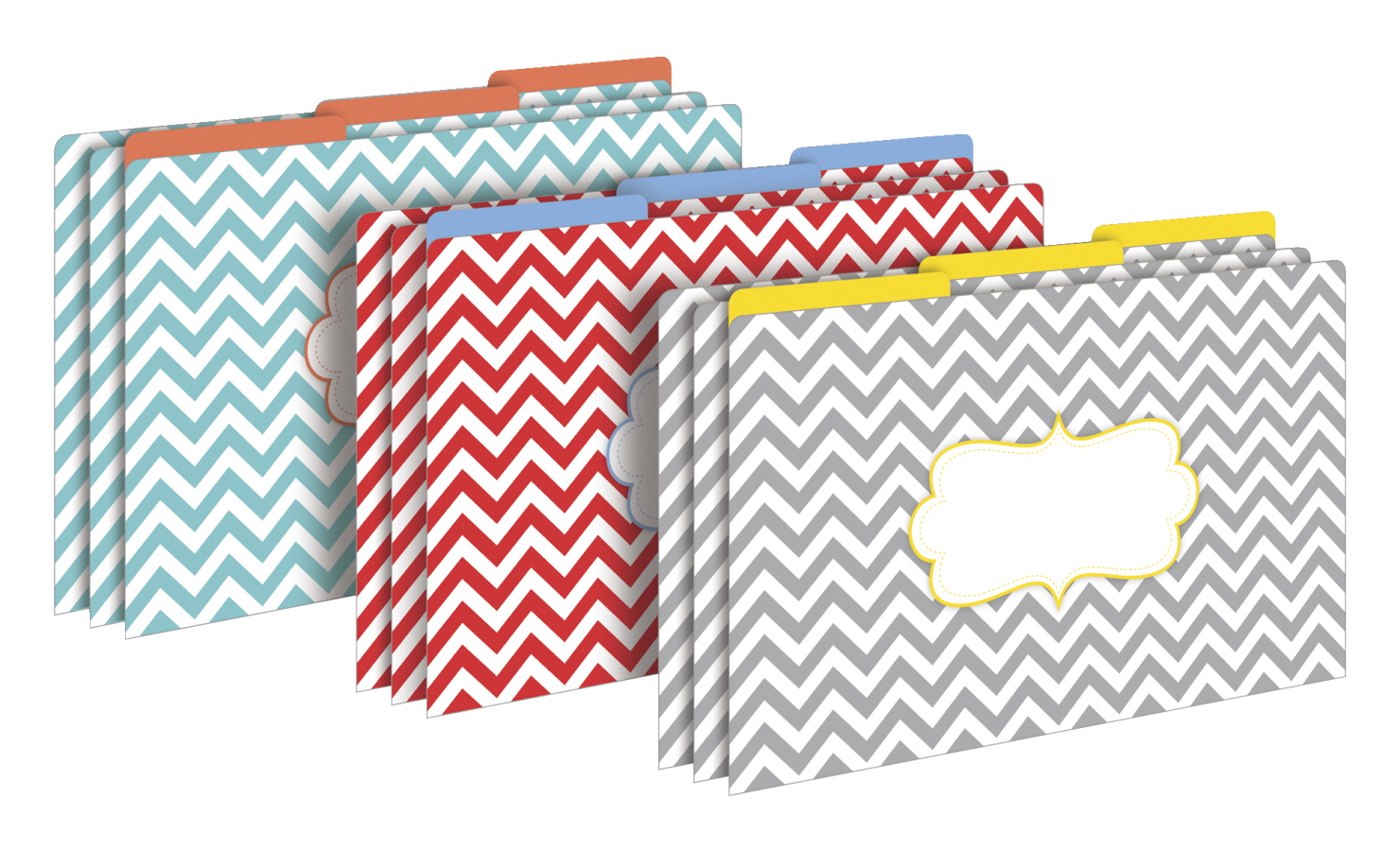 Barker Creek Chevron Beautiful Legal File Folders, Pack of 9