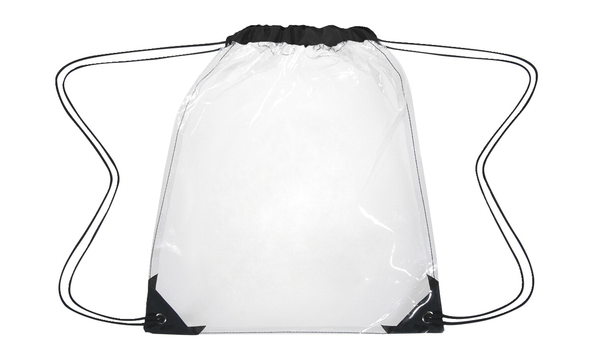 School Specialty Clear Drawstring Pack, PVC, 14 x 17 Inches