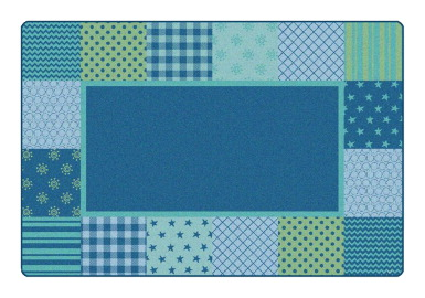 Carpets For Kids KIDSoft Pattern Blocks Carpet, 4 x 6 Feet, Blue, Rectangle