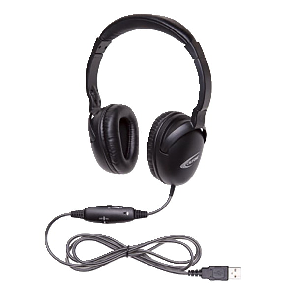 Califone NeoTech Plus 10171MUSB Premium, Over-Ear Stereo Headset with Inline Microphone, USB Plug, Black