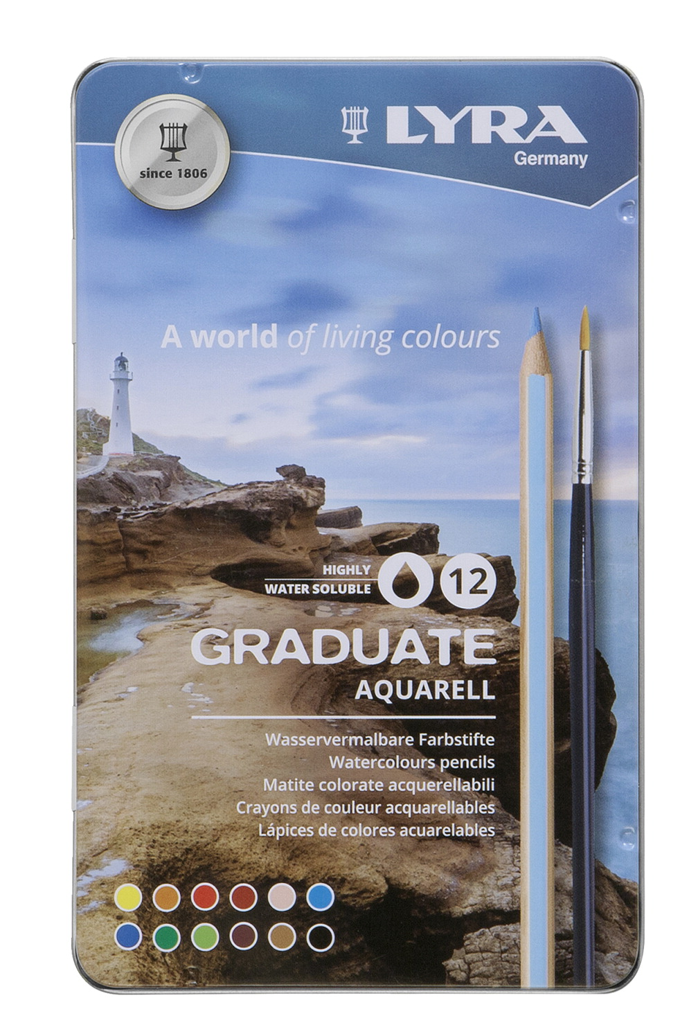 Lyra Graduate Aquarell Colored Pencil Set, Assorted Colors, Set of 12
