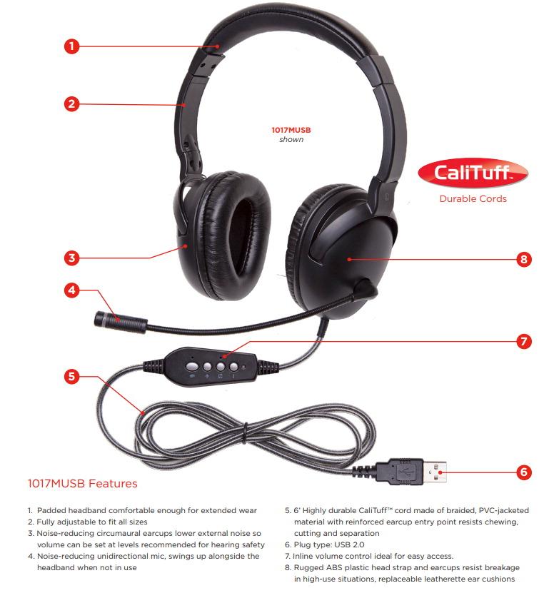 Califone 1017MUSB NeoTech Plus Headset with Gooseneck Microphone, USB Plug
