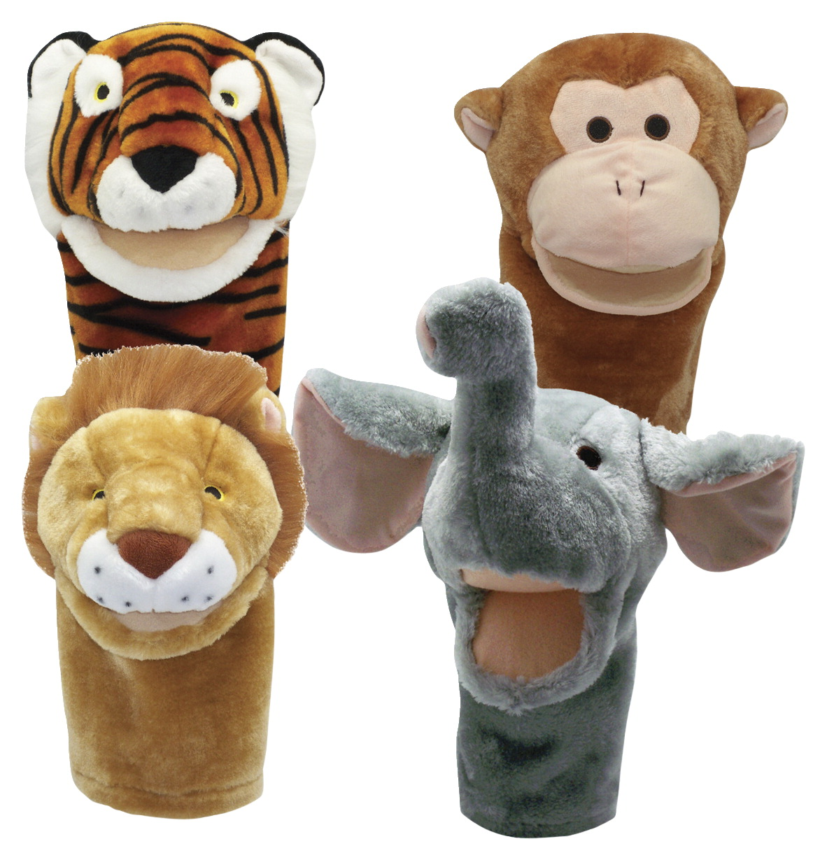 Get Ready Kids Moveable Mouth Zoo Animal Puppets, Set of 4