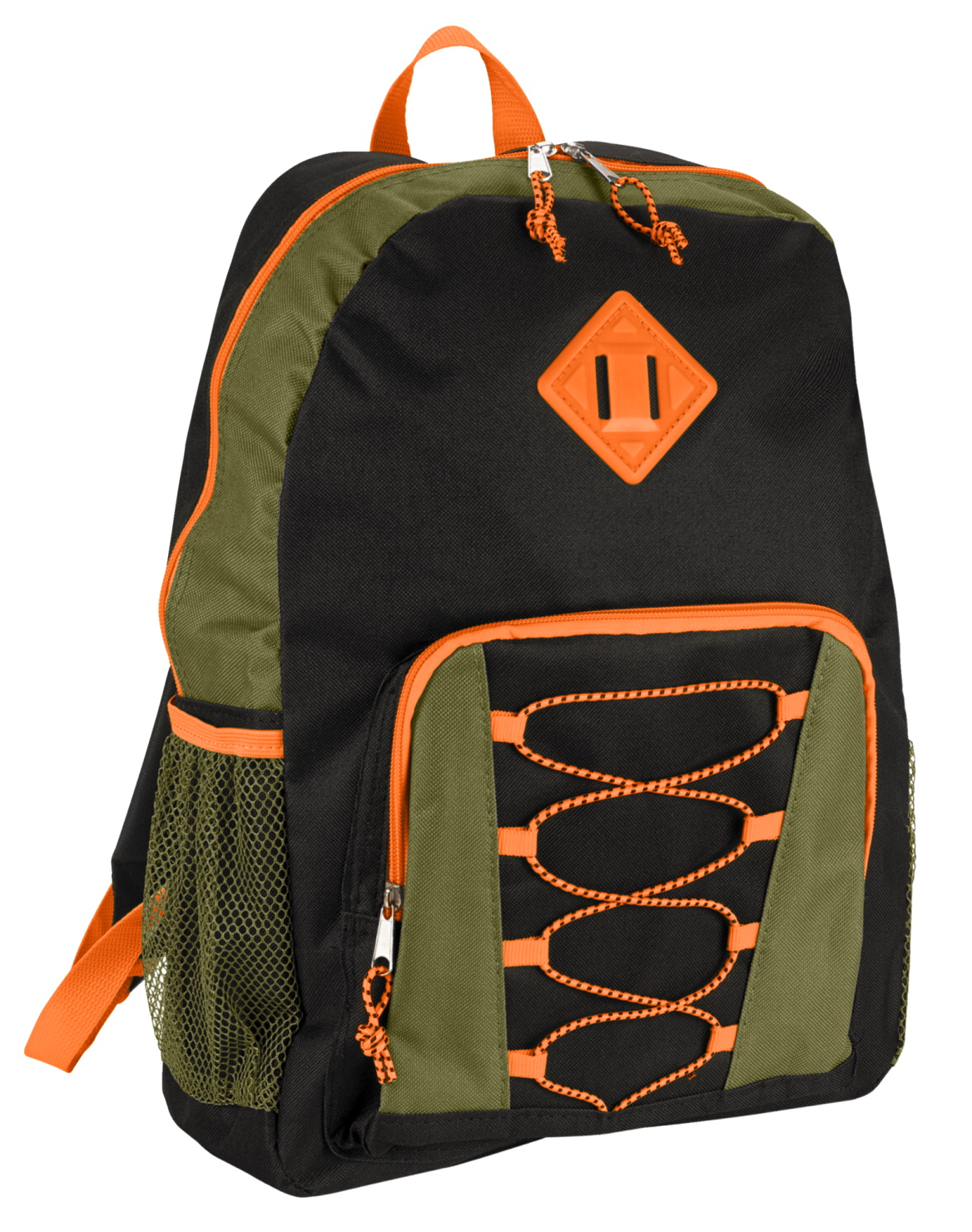 Junior Backpack with Bungee Cord, Black, Olive, Orange, 17 x 12 x 5-1/2 inches