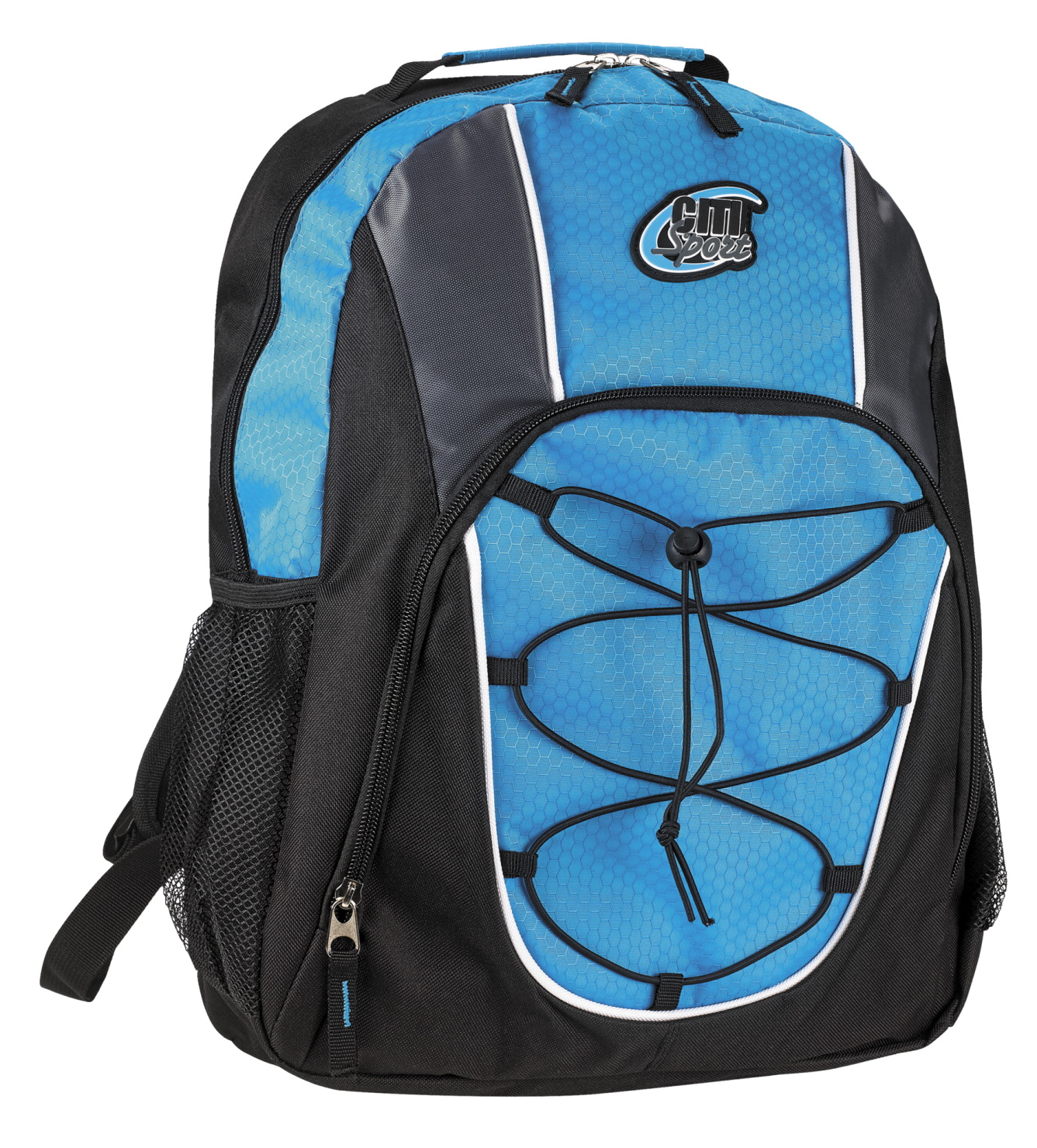 Large Backpack with Bungee Cord, Blue and Black, 17 x 13 x 6 inches