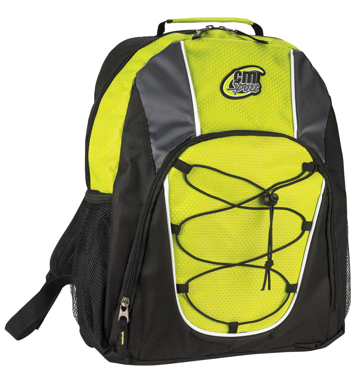 Large Backpack with Bungee Cord, Lime and Black, 17 x 13 x 6 inches