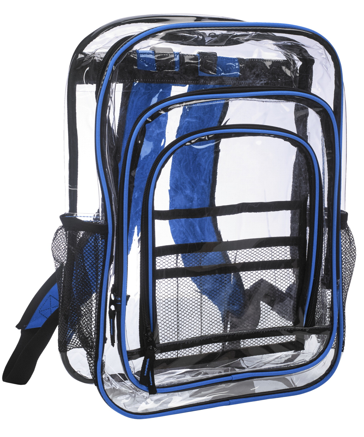 Jumbo Clear Backpack, Royal, 17-1/2 x 13 x 6-1/2 Inches