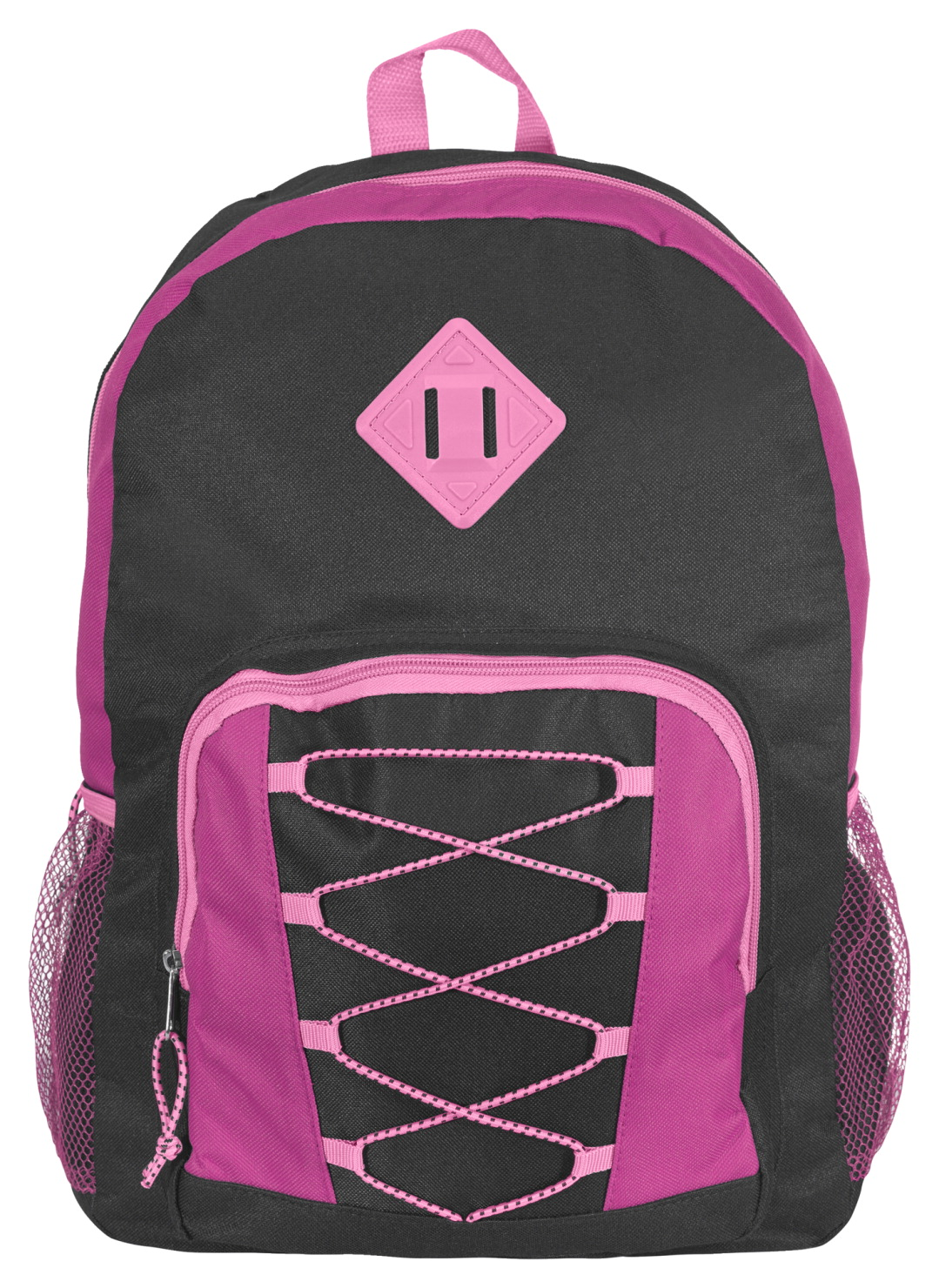 Junior Backpack with Bungee Cord, Charcoal, Pink, Light Pink, 17 x 12 x 5-1/2 inches