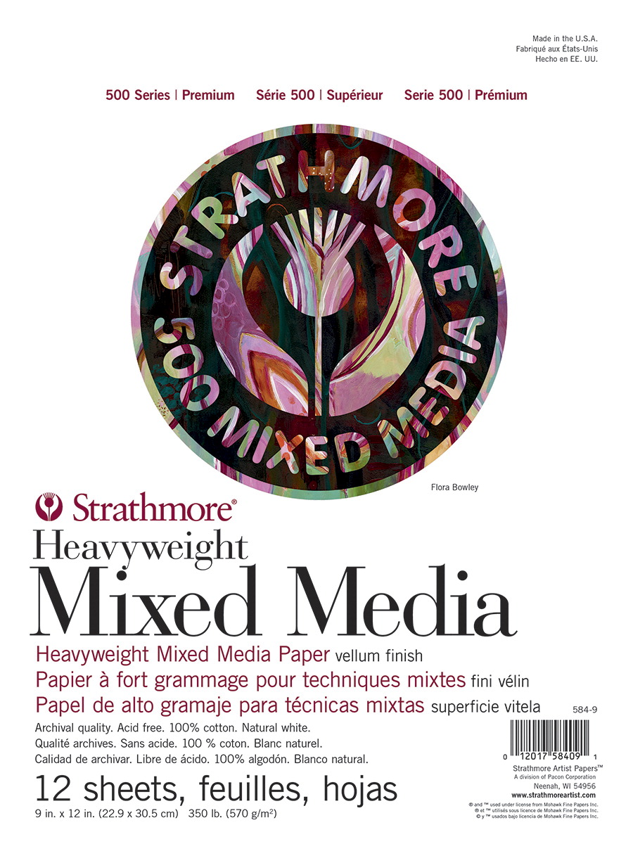 Strathmore 500 Series Mixed Media Pad, 9 x 12 Inches, 350 lb, 12 Sheets