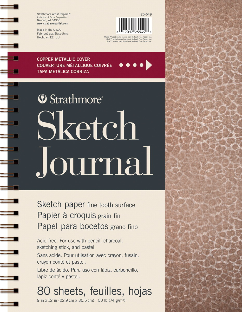 Strathmore Metallic Sketch Journal, Hammered Copper, 9 x 12 Inches, 160 Sheets