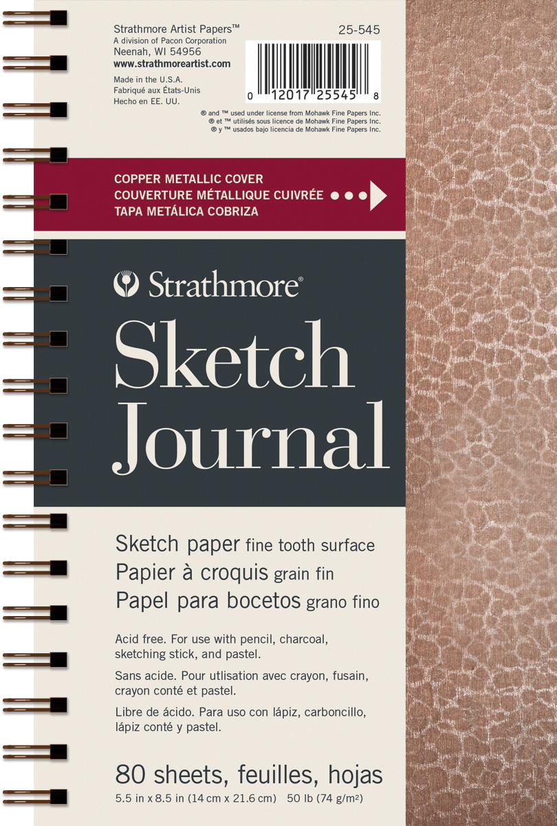 Strathmore Metallic Sketch Journal, Hammered Copper, 5-1/2 x 8-1/2 Inches, 80 Sheets