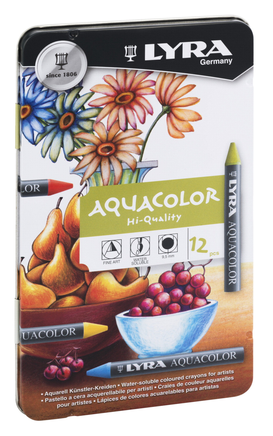 Lyra Aquacolor Non-Toxic Water Soluble Crayon, Assorted Color, Set of 12