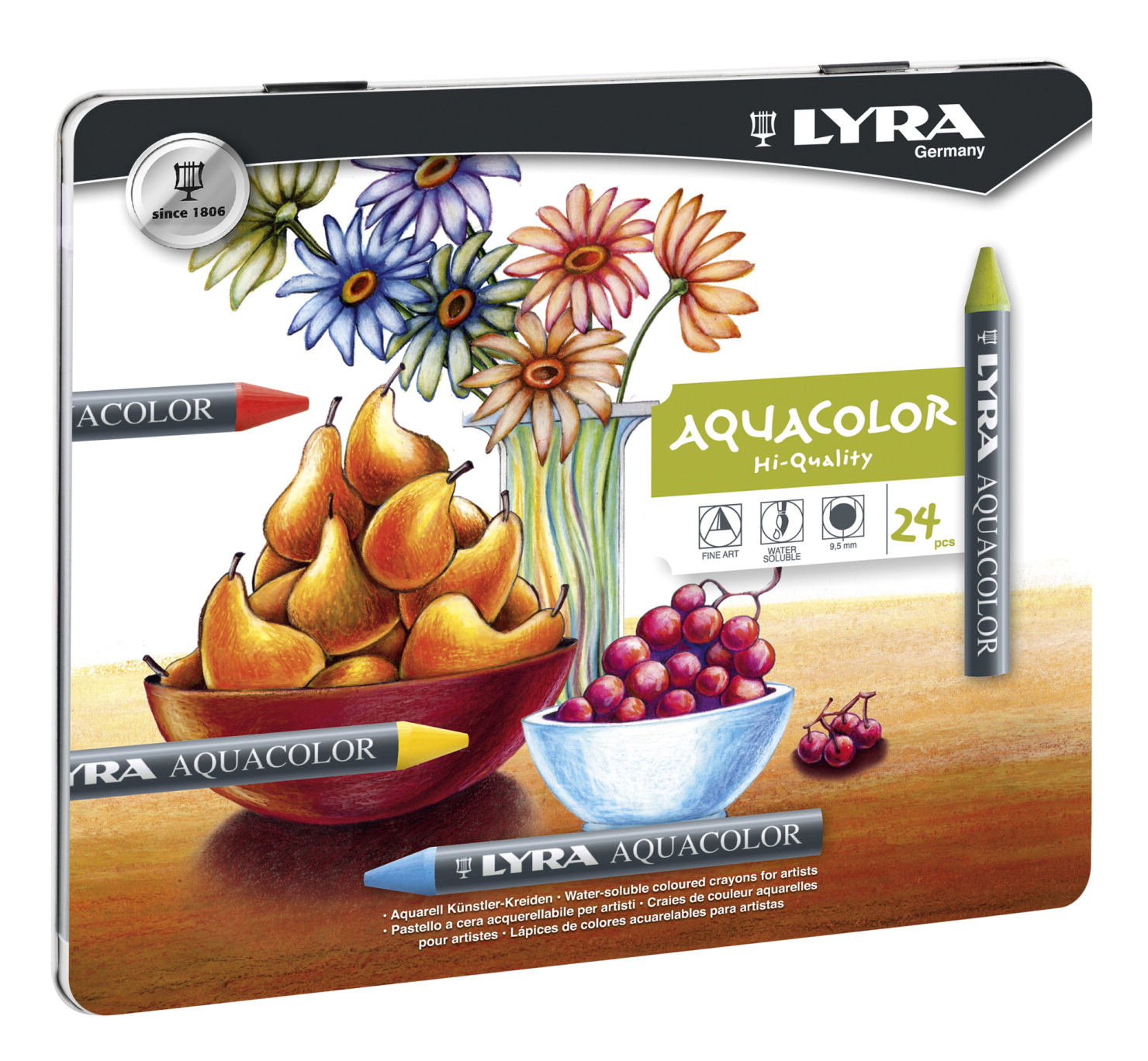 Lyra Aquacolor Non-Toxic Water Soluble Crayon, Assorted Color, Set of 24