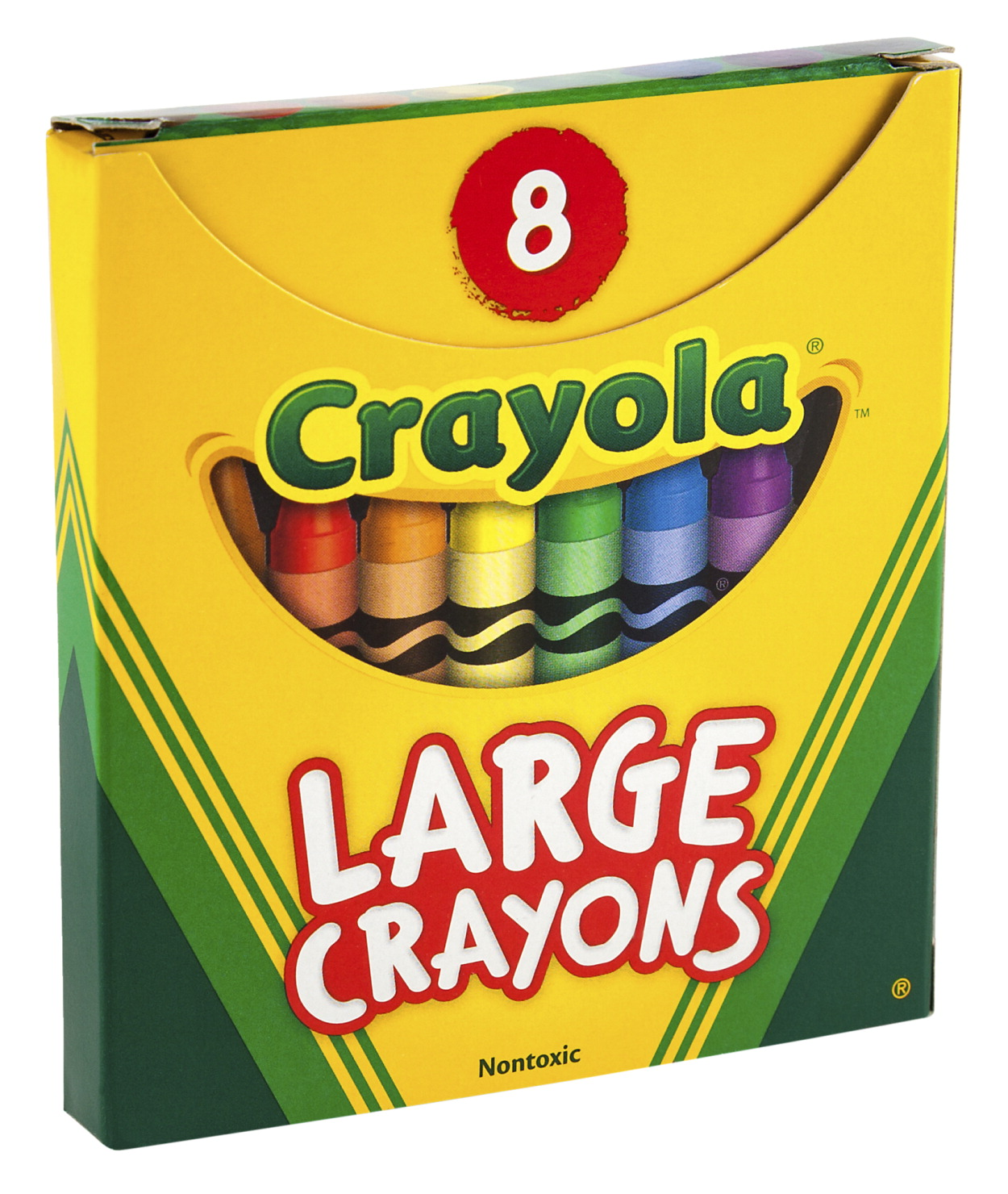 Crayola Large Non-Toxic Crayon in Tuck Box, 4 x 7/16 in, Assorted Colors, Set of 8