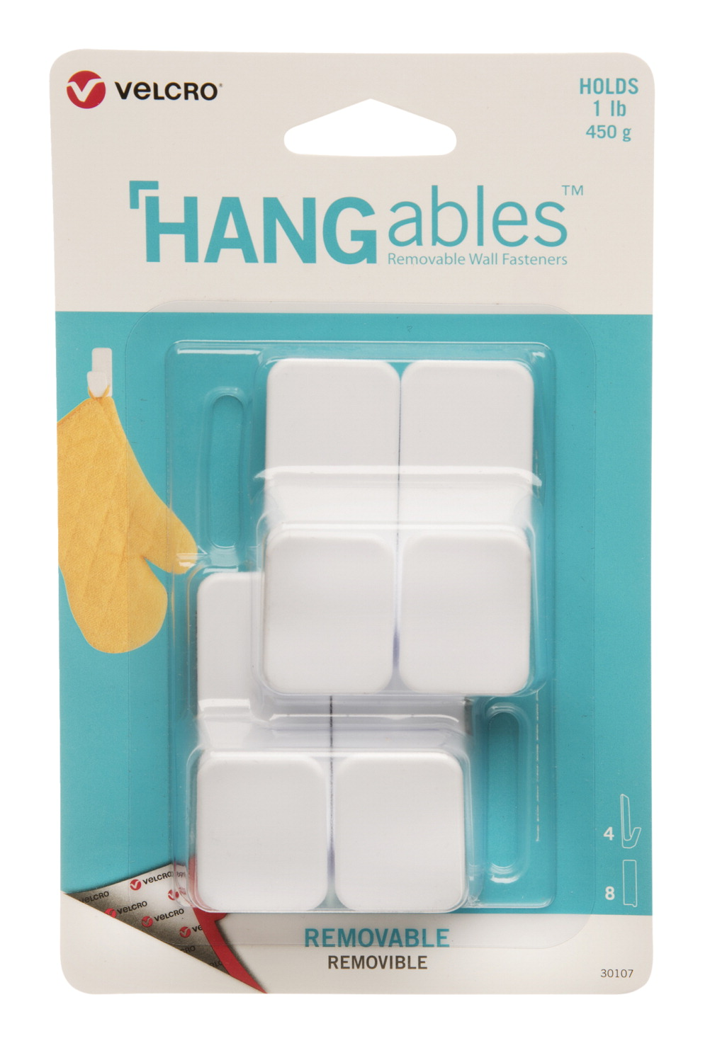 VELCRO Brand HANGables Removable Adhesive Hooks, White, Pack of 4