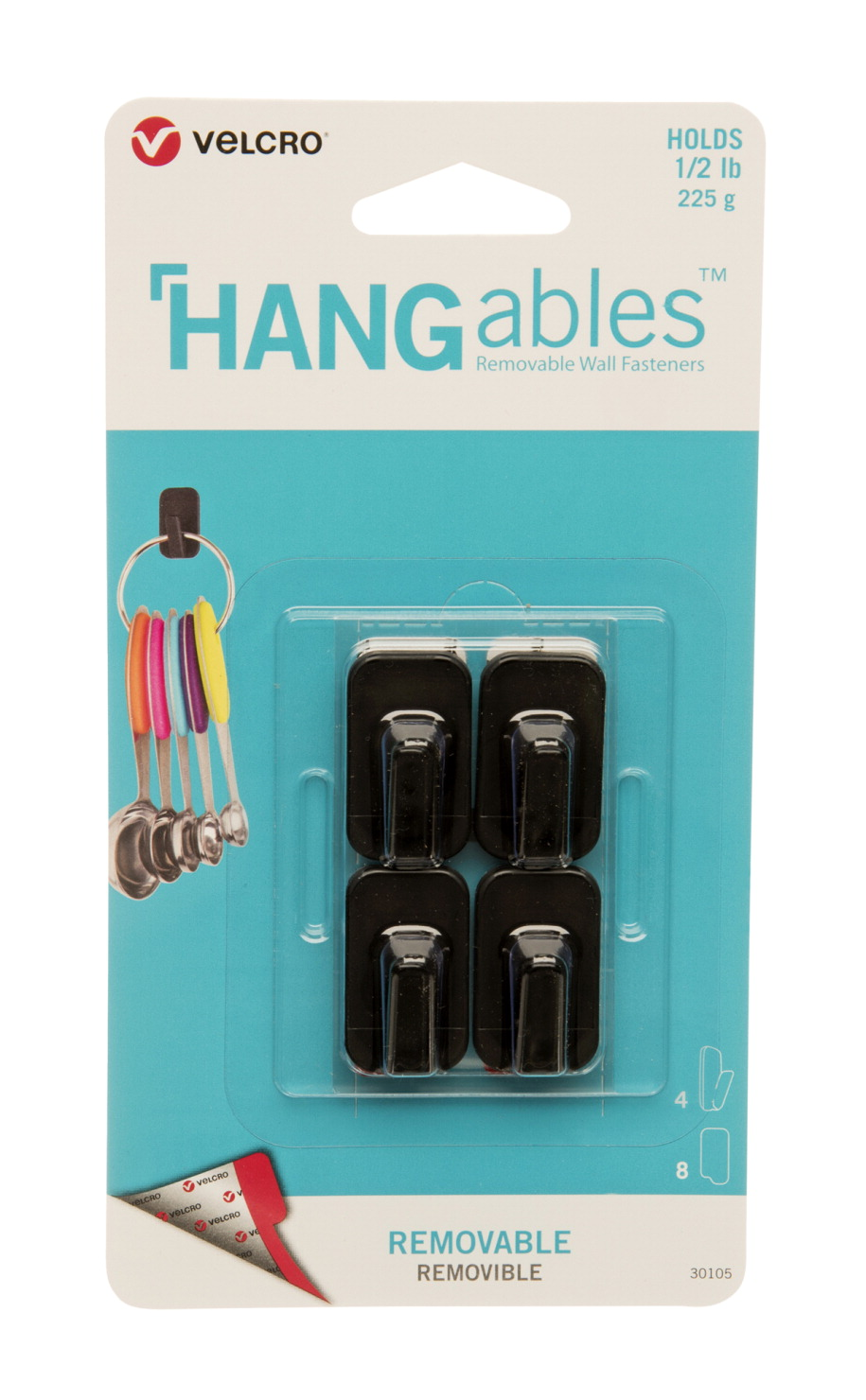 VELCRO Brand HANGables Removable Micro Hooks, 1/2 lb Capacity, Black, Pack of 4