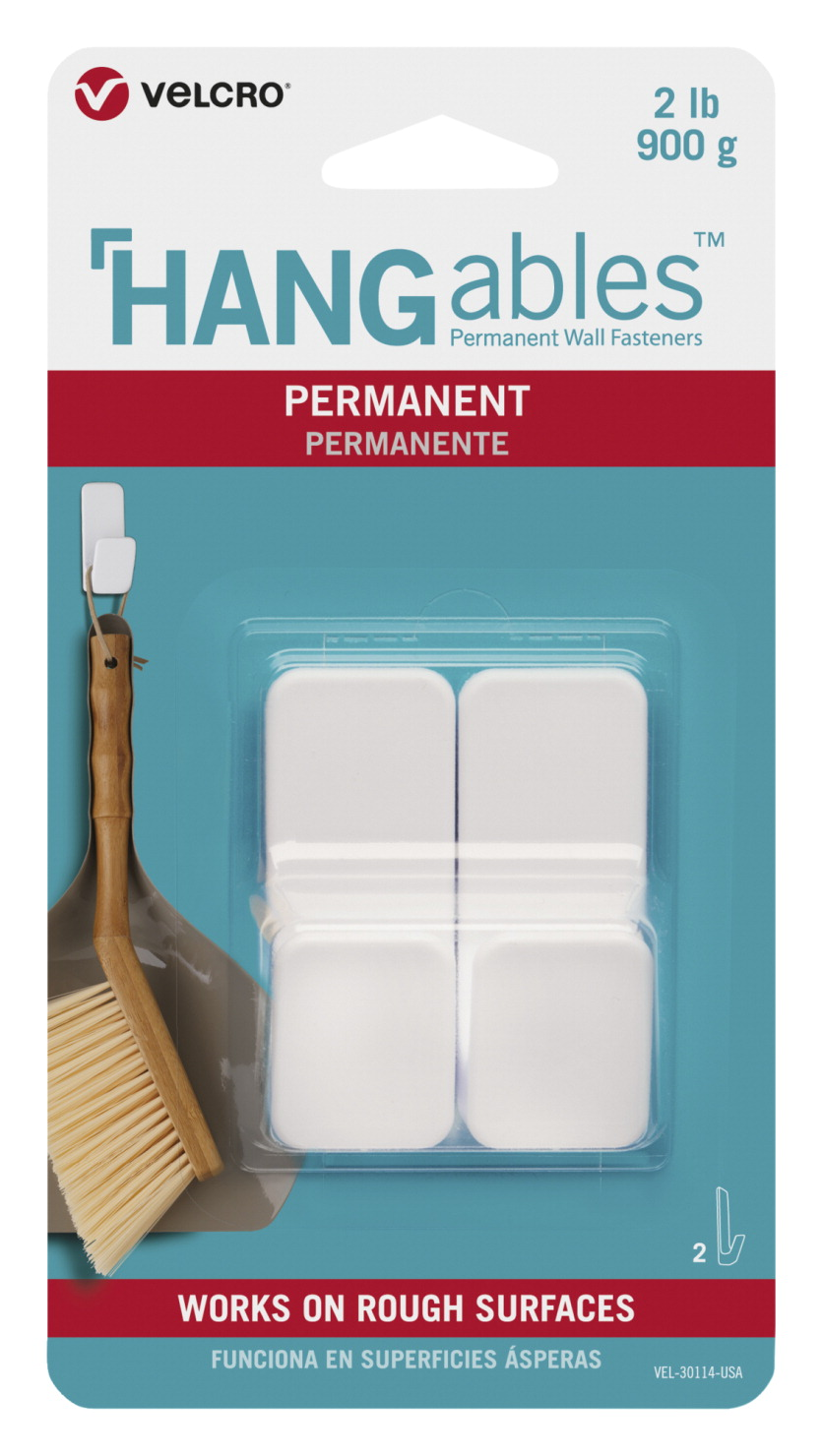 VELCRO Brand HANGables Permanent Small Hooks, 2 lb Capacity, White, Pack of 2