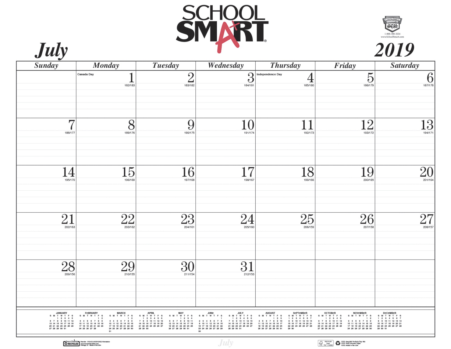 School Smart 14-Month Desk Pad Calendar Refill Sheets, July 2019 to August  2020