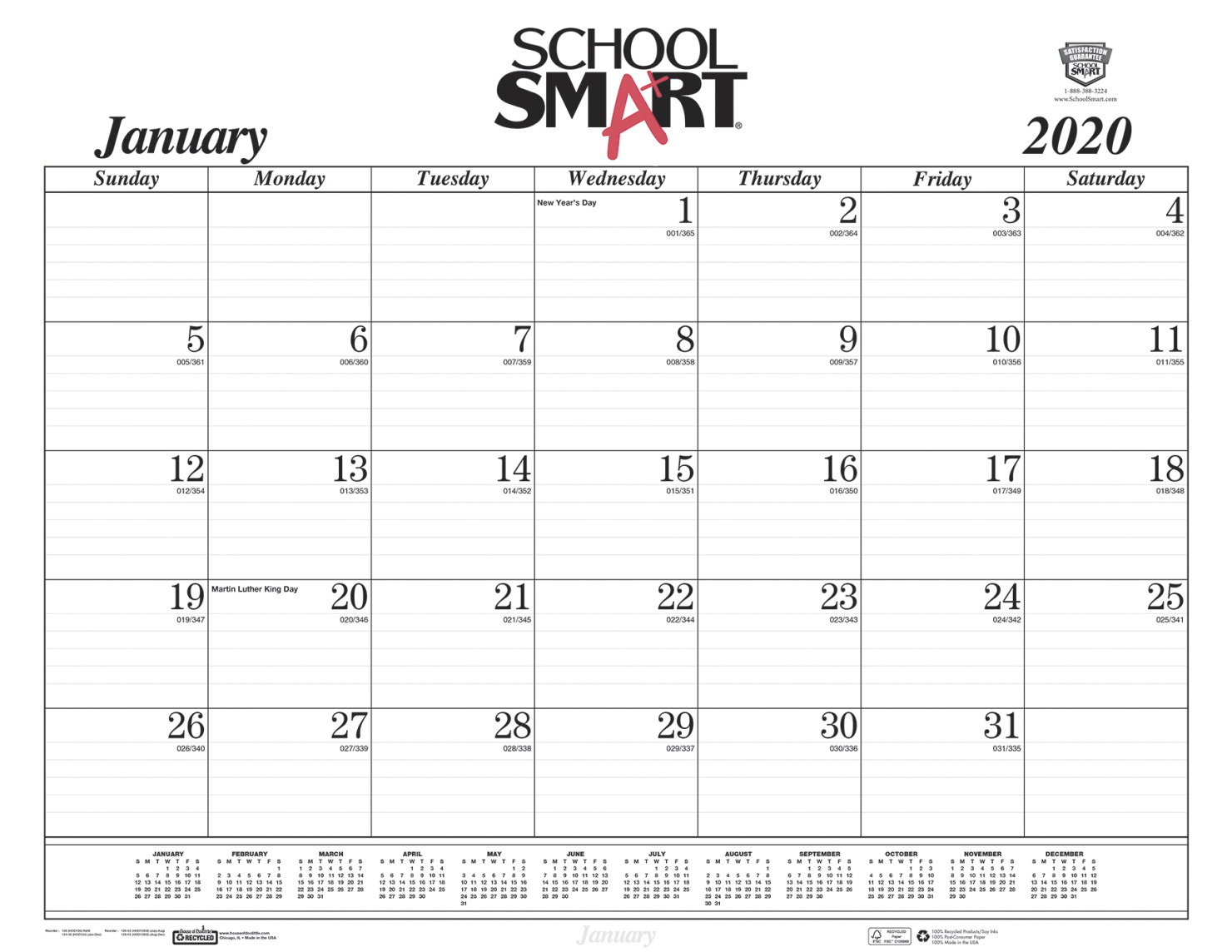 Calendar December 2020.School Smart Desk Pad Calendar Refill Sheets 12 Months January To December 2020