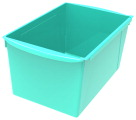 Storex Interlocking Book Bins, Double Wide, 14-1/2 x 9-1/5 x 7 Inches, Teal
