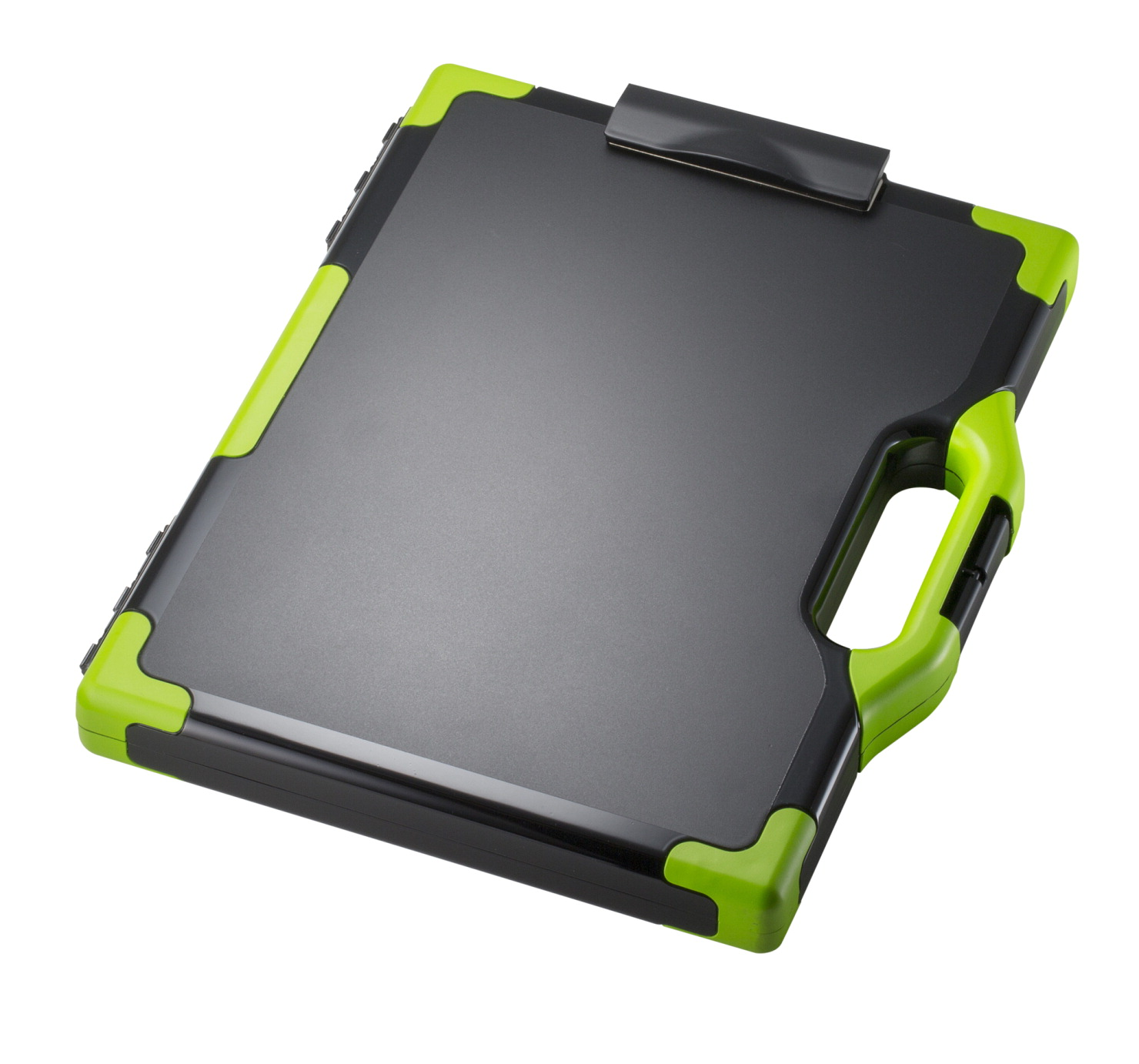 CARRY-ALL Clipboard Storage Box with Handle, Letter/Legal, 15-1/2 x 13 x 2  Inches, Black/Green
