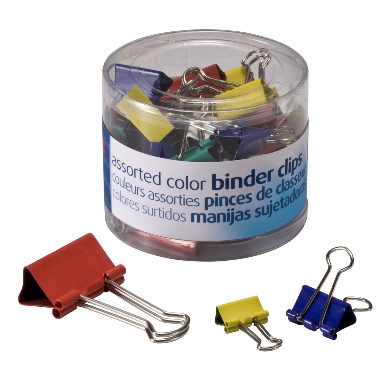 Officemate Binder Clips, Assorted Sizes and Colors, Pack of 30