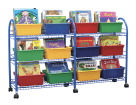 School Specialty Metal Mobile Leveled Library Without Trays, Blue
