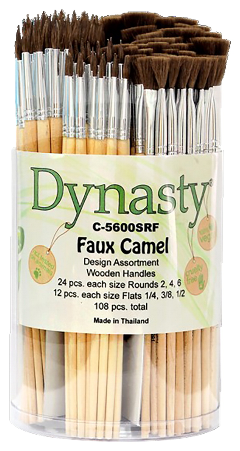 Dynasty Faux Camel Hair Brush Canister, Rounds and Flats, Set of 108