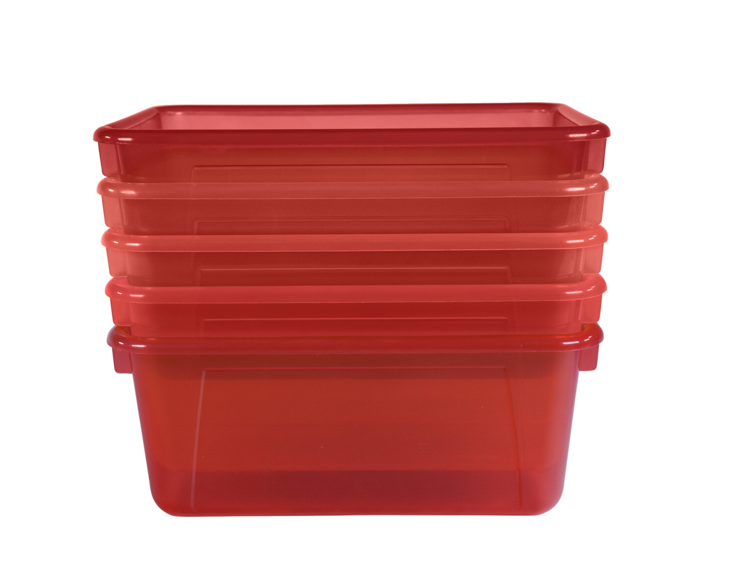 School Smart Translucent Cubby Bin, Small, 12 x 8 x 5 Inches, Candy Red, Pack of 5