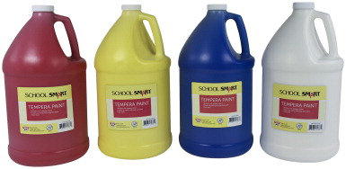 School Smart Tempera Paint Set, Assorted Colors, 4 Gallons