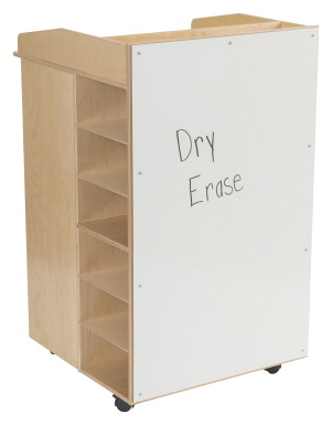 Childcraft Mobile AV Podium with Storage, 27-1/2 x 29-1/8 x 46-1/8 Inches