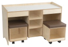 Childcraft Collaboration Desk with Two Stools, 47-3/4 x 19-3/8 x 26 in
