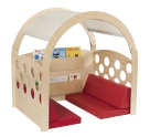 Childcraft Reading Nook, Tan/Red Canopy with Red Cushions, 49-1/2 W x 37 D x 50 H in