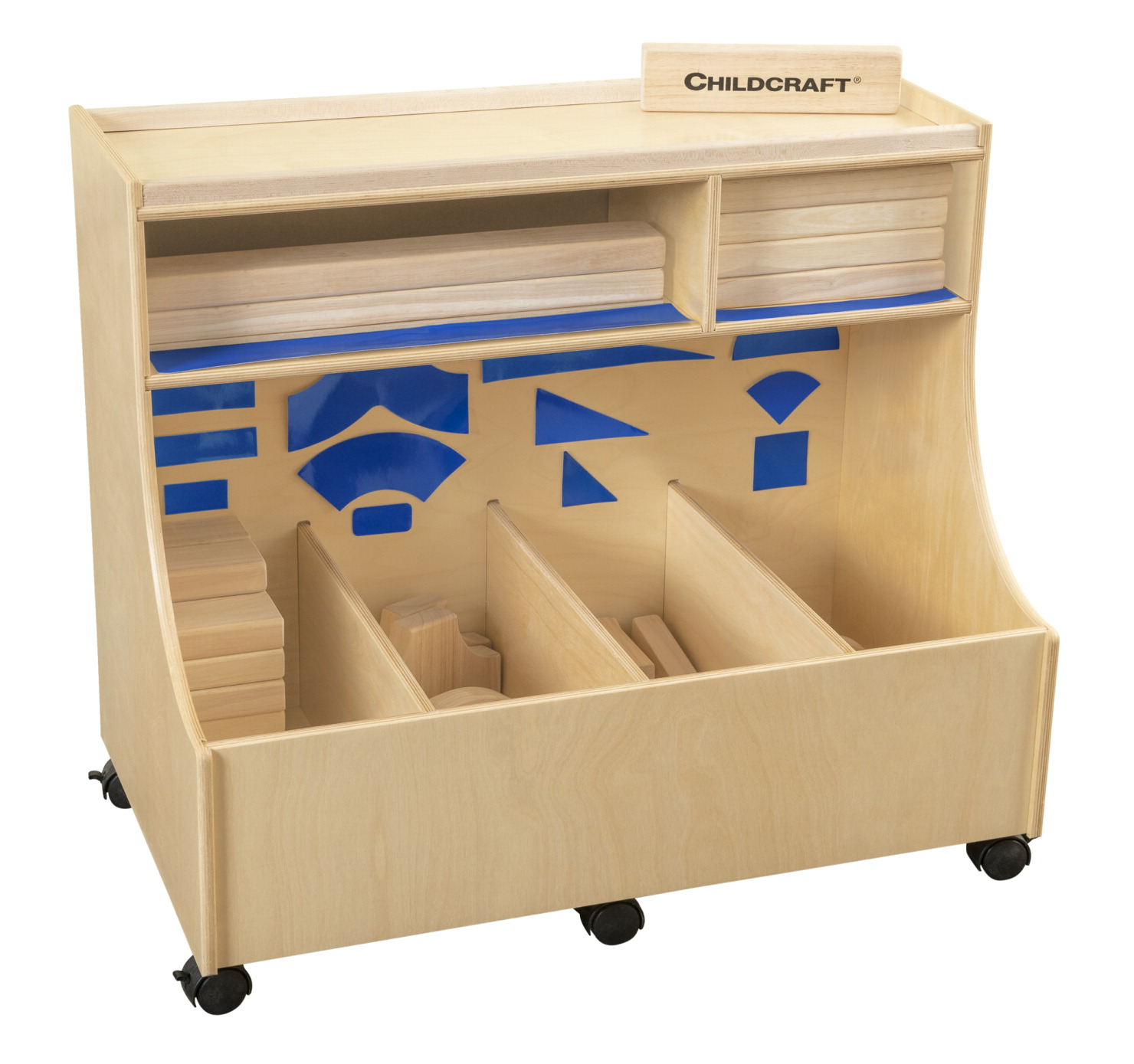 Childcraft Block Storage Unit with Blue Adhesives and 100 Blocks