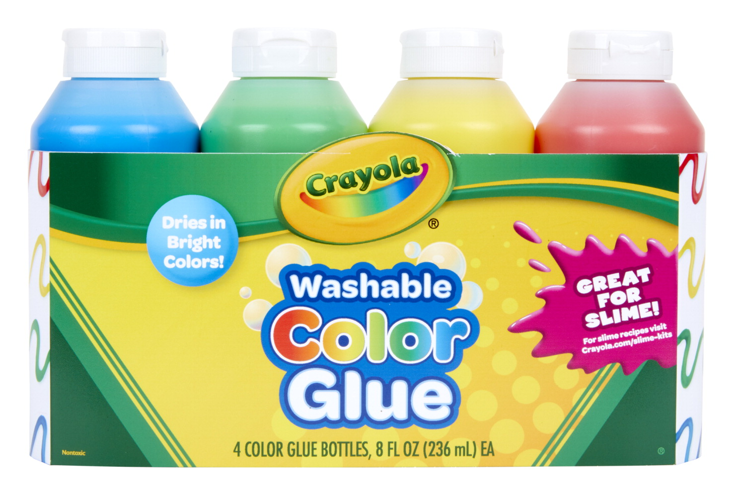 Crayola Washable Colored Glue, Assorted Colors, 8 Ounce Bottles, Pack of 4