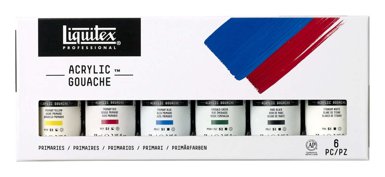 Liquitex Acrylic Gouaches, 2 Ounces, Assorted Primary Colors, Set of 6
